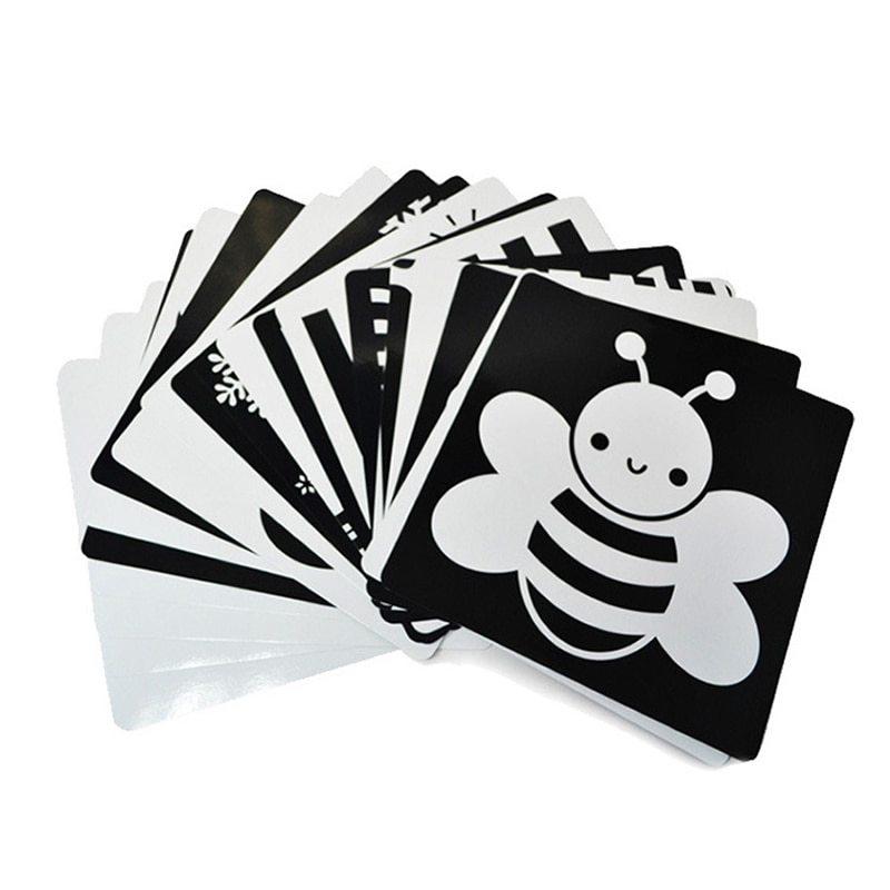 21x21-centímetros-cartão-para-Preschool-educacional-do-bebê-de-treinamento-Visual-Preto-e-branco-cartão-cartões